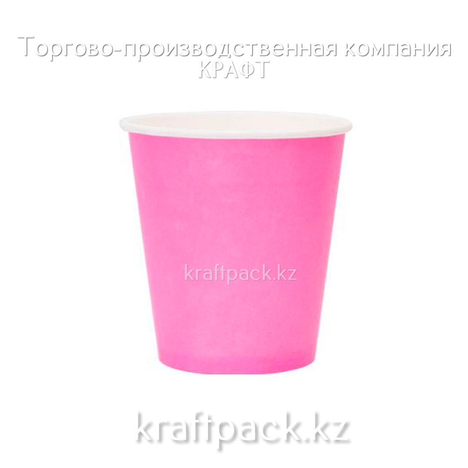 Бумажный стакан РОЗОВЫЙ для горячих/холодных напитков 250мл (8 OZ) (50/1000)