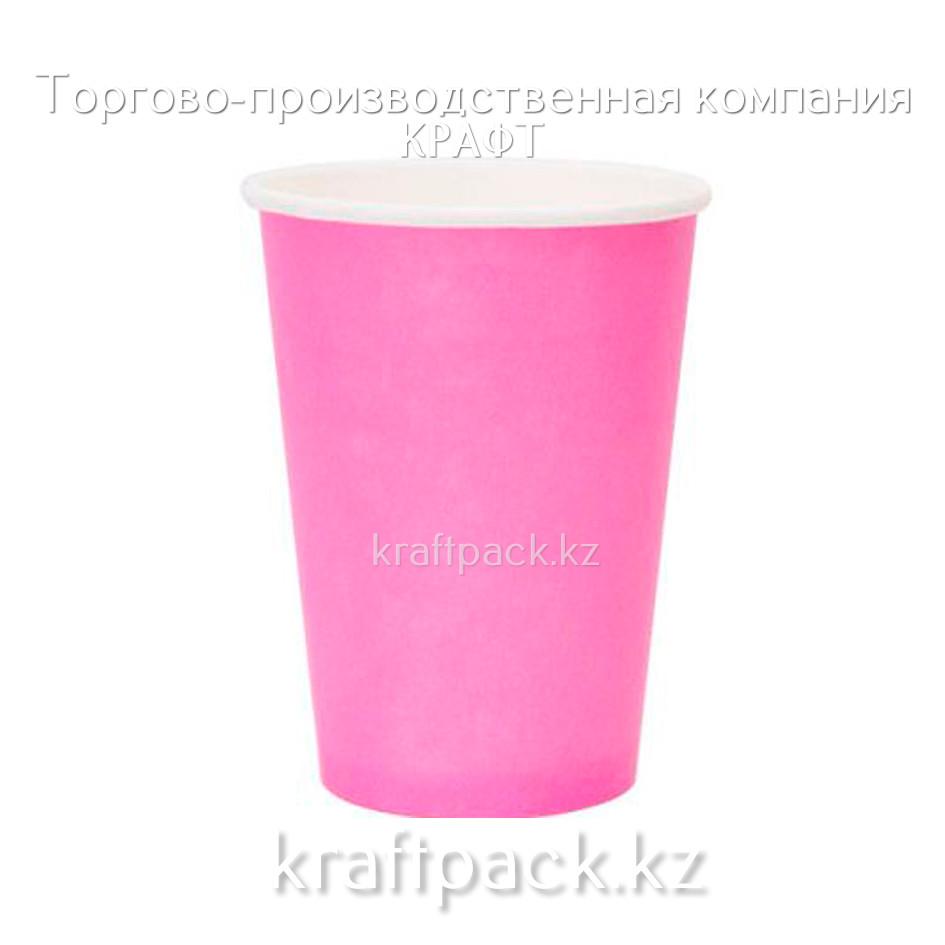Бумажный стакан РОЗОВЫЙ для горячих/холодных напитков 350мл (50/1000)