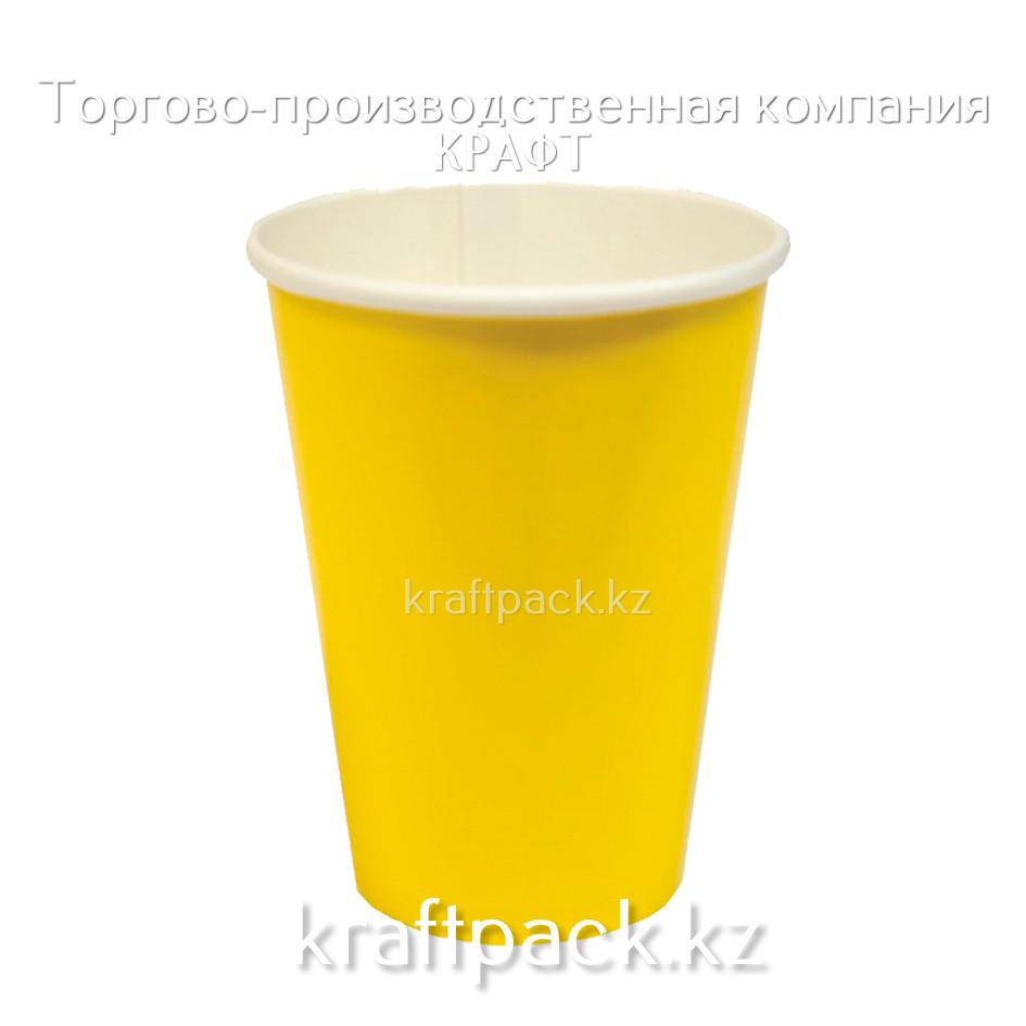Бумажный стакан ЖЕЛТЫЙ для горячих/холодных напитков 350мл (50/1000)