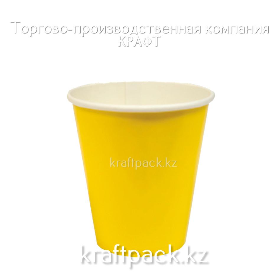 Бумажный стакан ЖЕЛТЫЙ для горячих/холодных напитков 250мл (50/1000)