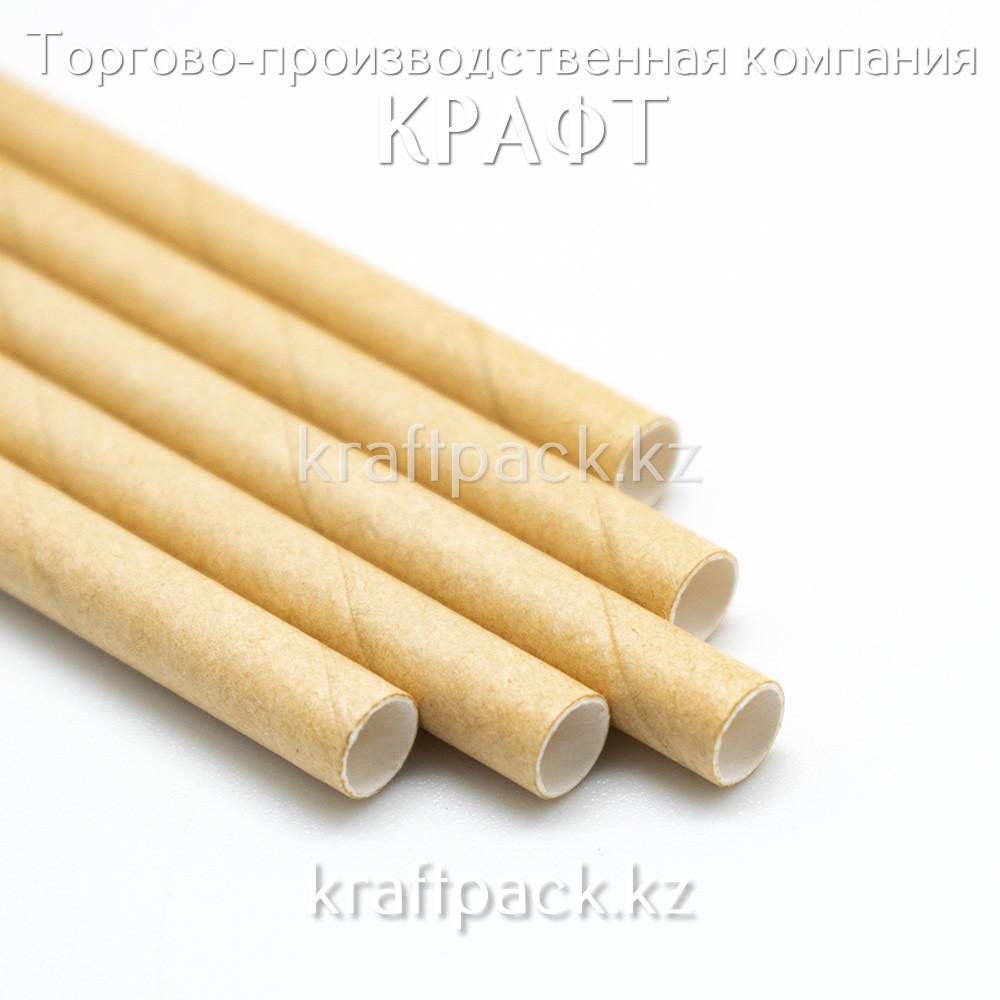 Эко трубочка для напитков, бумажная 195мм КРАФТ (100шт/2000шт)