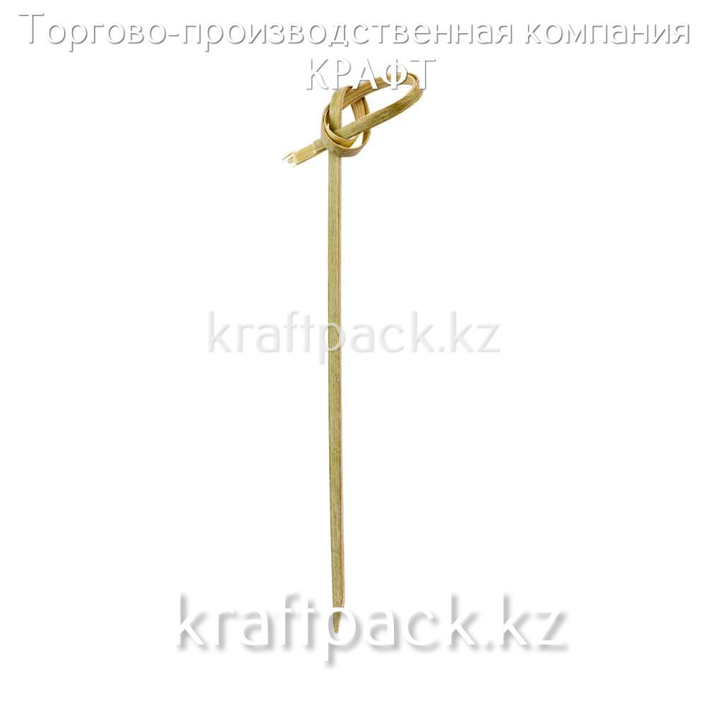 "Пика бамбуковая ""Узелок"" для канапе сердце 15 см (100 шт/уп)"