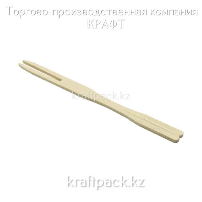 """Вилка Фуршетная 90мм, бамбуковая """"Два зуба"""" (100/10000)"""