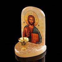 Икона 'Иисус Господь Вседержитель', с подсвечником, селенит