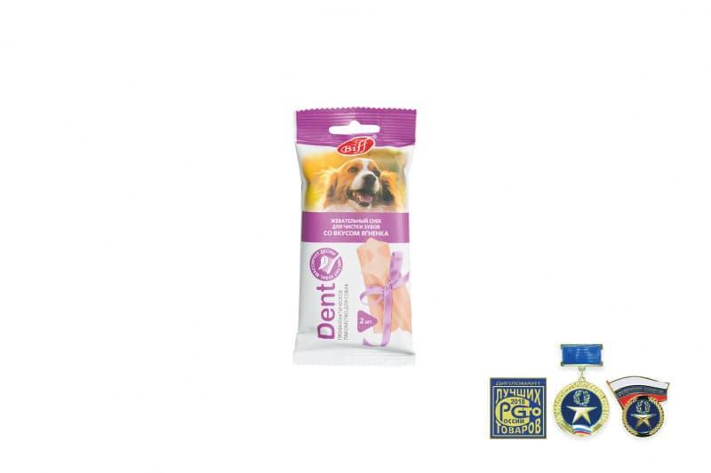 Жевательные снеки Biff Dent для снятия зубного налета средних собак (Ягненок), TitBit - 50 г