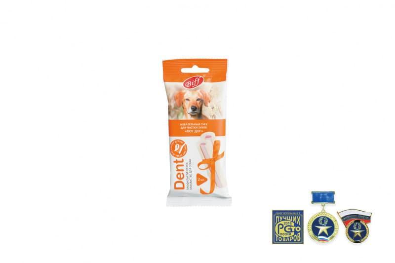 Жевательные снеки Biff DENT Хот-дог для снятия мягкого зубного налета средних собак, TitBit - 45 г