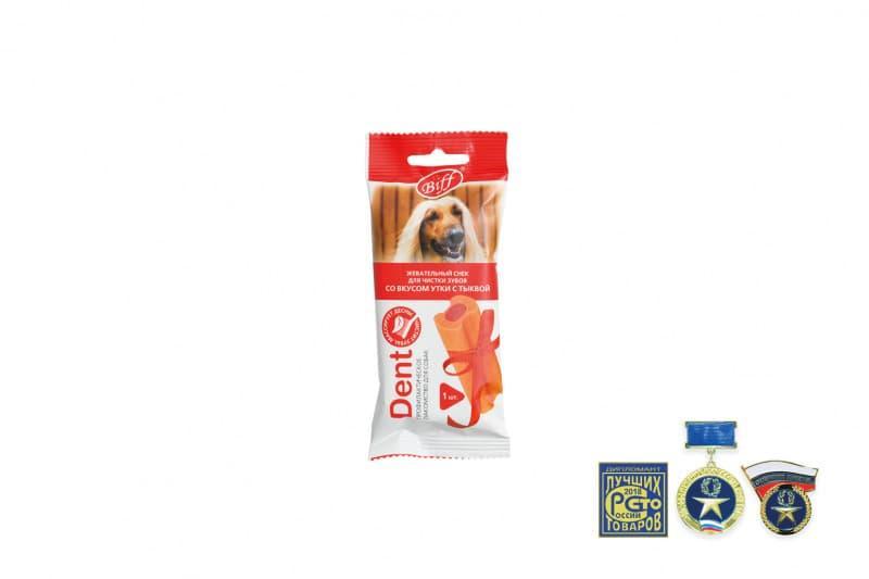 Жевательные снеки Biff DENT для снятия зубного налета крупных собак (Утка, тыква), TitBit - 75 г