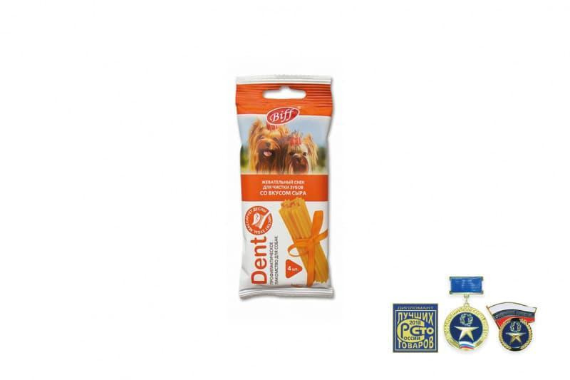 Жевательный снек Biff DENT для снятия мягкого зубного налета мелких собак (Сыр), TitBit - 40 г