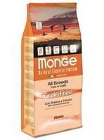 Беззерновой корм Monge для склонных к аллергической реакции на глютен собак (Утка, картофель) - 2.5