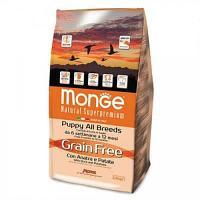 Беззерновой корм Monge для щенков, склонных к аллергической реакции на глютен (Утка) - 2.5 кг