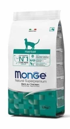 Корм Monge Hairball для выведения шерсти взрослых кошек - 1.5 кг