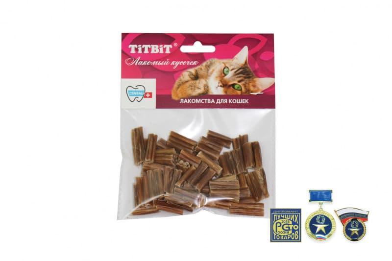 Высушенные говяжьи кишки мини для кошек, TitBit - 30 г