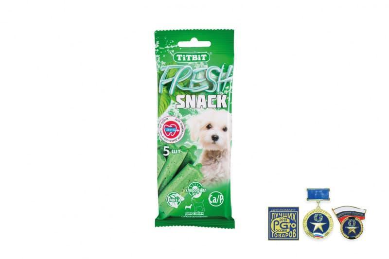 Снеки Fresh Snack для свежего дыхания и чистки зубов мелких собак, TitBit - 55 г
