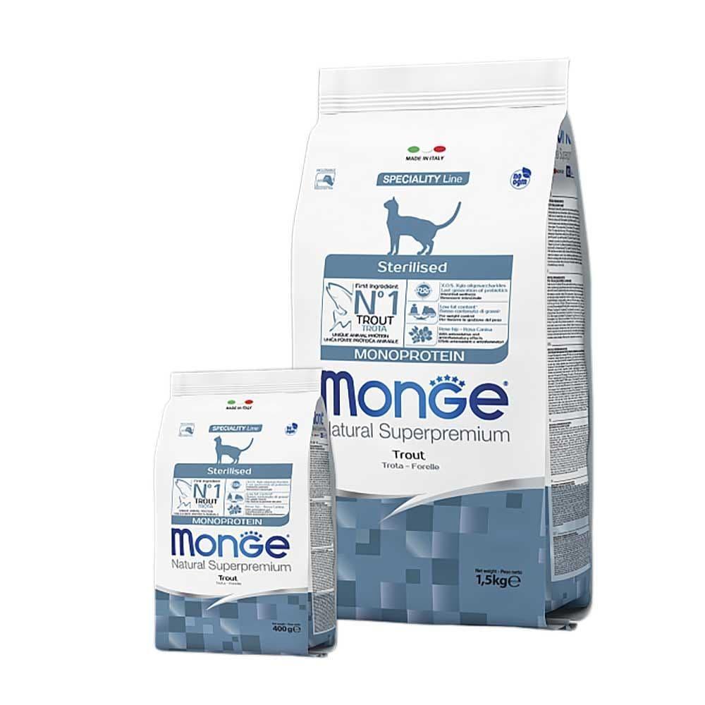Монобелковый корм Monge Monoprotein Sterilised Trout для стерилизованных кошек (Форель) - 1.5 кг