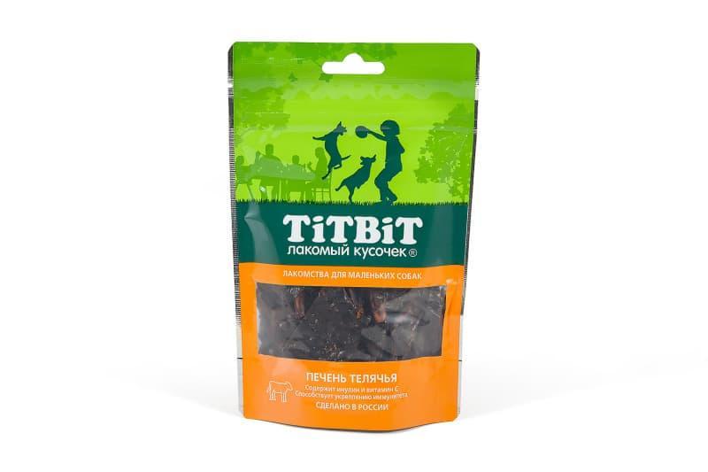 Печень телячья с витамином С и инсулином для собак, TitBit - 50 г