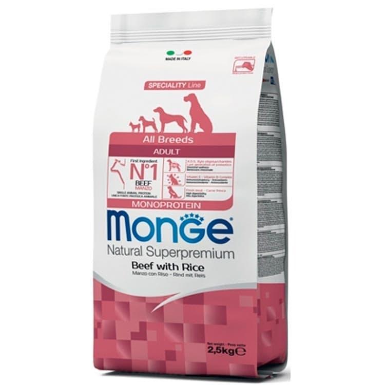 Монобелковый корм Monge для взрослых собак всех пород (Говядина и рис) - 12 кг