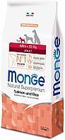Корм Monge Adult Mini для взрослых собак мелких пород с особыми потребностями (Лосось, рис) - 7.5 кг