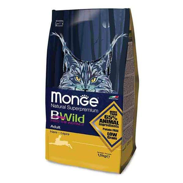 Корм Monge BWild Adult для взрослых кошек (Зайчатина) - 1.5 кг