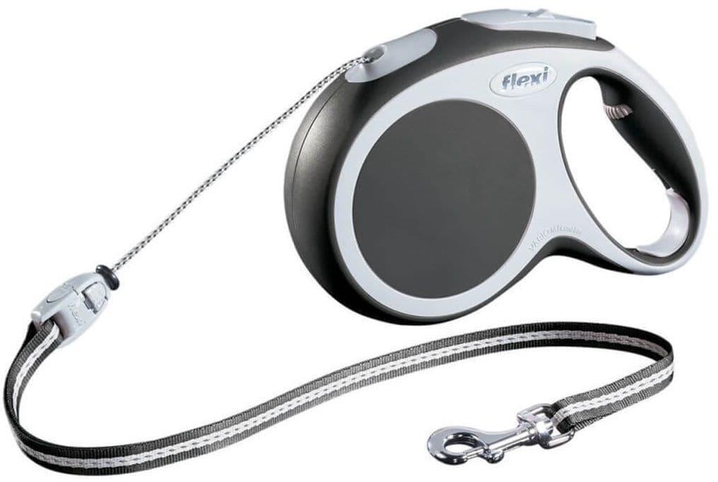 Рулетка FLEXI Vario для собак до 12кг, тросс, 5м, антрацит, S