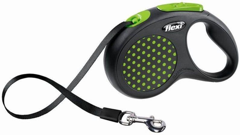 Рулетка Flexi Design для собак до 15кг, шнур, 5м, зеленый