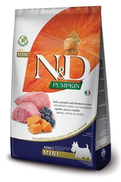 Беззерновой корм Farmina N&D Adult Mini для взрослых собак мелких пород (Ягненок, Черника) - 2.5 кг