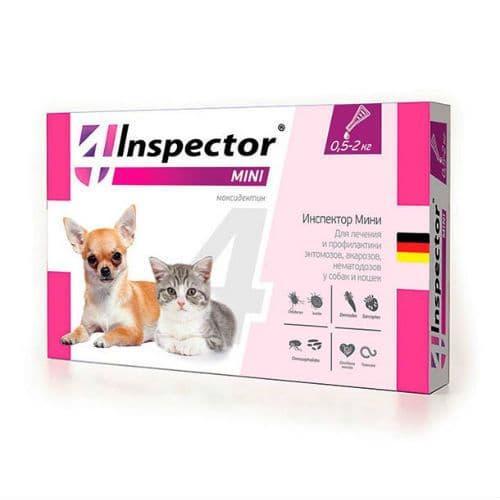 Капли Inspector mini для кошек и собак до 2кг для борьбы с наружными и внутренними паразитами, 1 пип