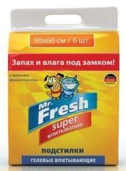 Mr.Fresh Expert Super Подстилки гелевые впитывающие 90*60 (6 штук)