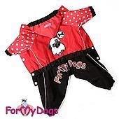 Дождевик ForMyDogs для девочек (Черный/красный) - 33-44 см