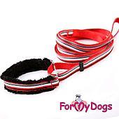 Ошейник с поводком ForMyDods для собак (Красный) - S