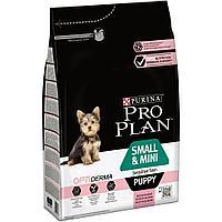 Корм Pro Plan для щенков мелких пород с чувствительной кожей (Лосось, Рис) - 3 кг