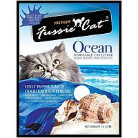 Комкующийся наполнитель Fussie Cat для кошачьего туалета (Морскй аромат) - 10 л