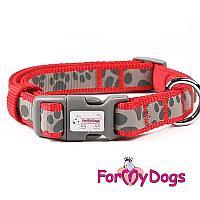 Ошейник ForMyDods для собак, светоотражающий (Красный) - M