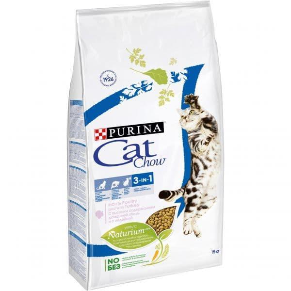 Корм Cat Chow 3 in 1 для кошек с тройной защитой  (Домашняя птица, Индейка) - 15 кг