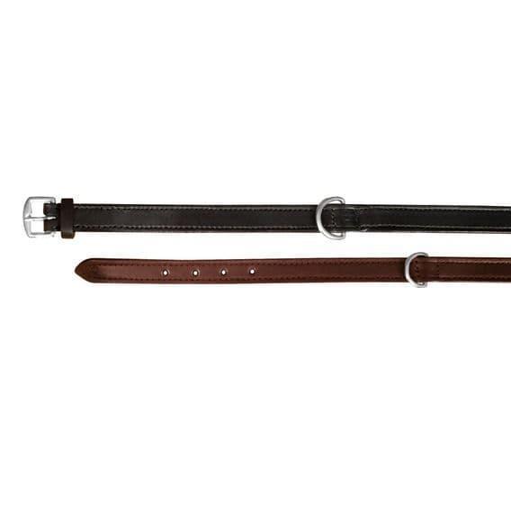 Черный кожаный ошейник для крупных пород - 52-63 cм
