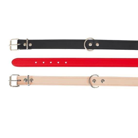 Красный кожаный ошейник для мелких пород - 33-39 cм