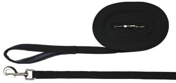 Черный брезентовый тренировочный поводок для средних пород - 10 м