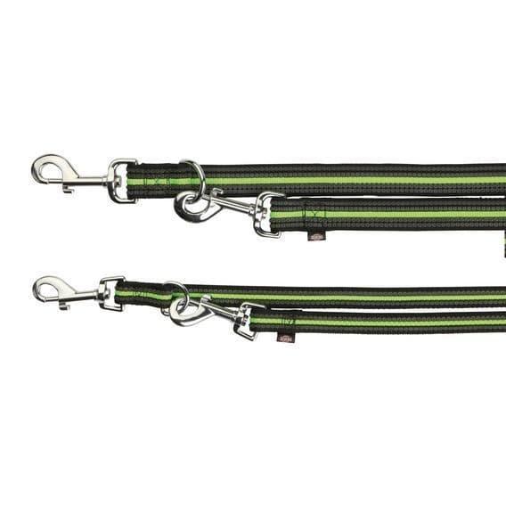 Черно-зелевый поводок-перестежка с резиновыми вставками для средних пород - 2 м