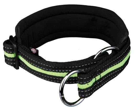 Черно-зеленый светоотражающий ошейник-удавка для средних пород - 40-46 см