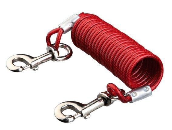 Металлическая цепь с красным пластиковым покрытием для привязывания собак до 50 кг - 5 м