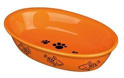 Овальная керамическая миска для кошек - 200 мл