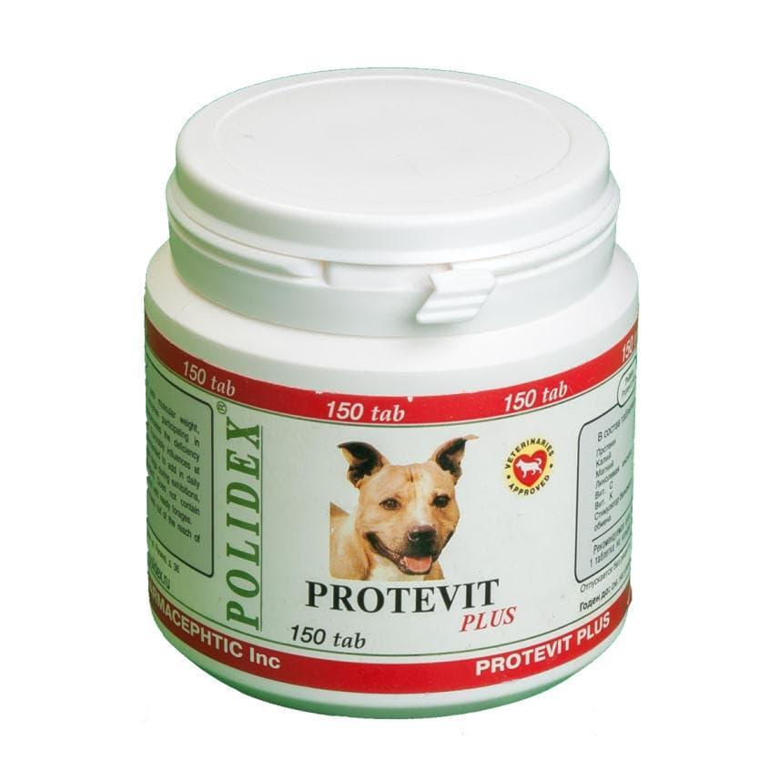 Препарат Protevit plus для увеличения мышечной массы щенкам и взрослым собакам, Polidex - 150 табл.