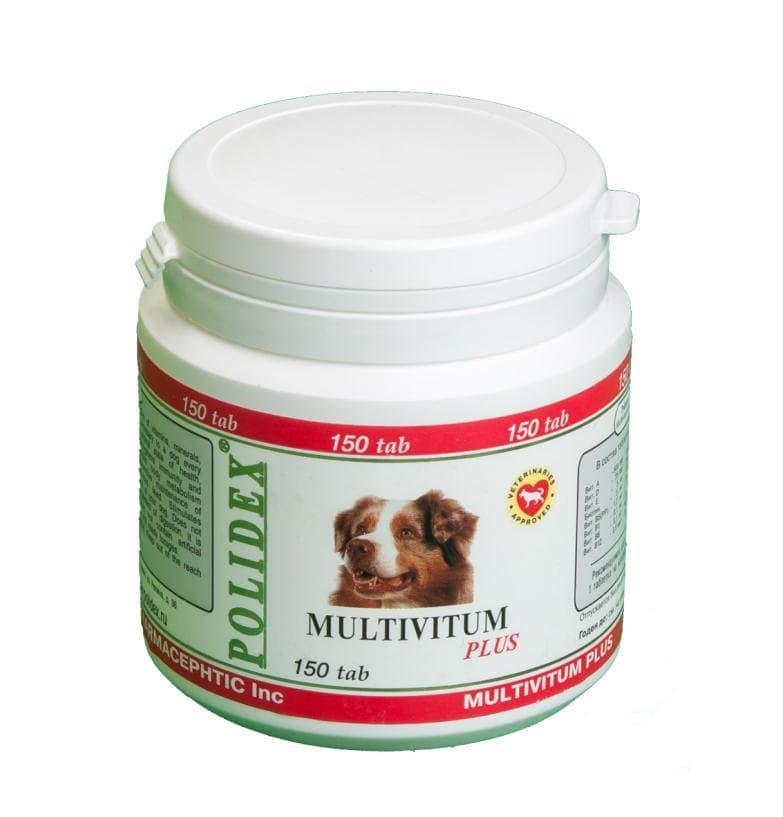 Поливитамины Multivitum plus для улучшения здоровья и иммунитета у собак, Polidex - 150 табл.