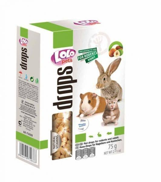 Дропсы с лесным орехом  для грызунов и кролика, Lolo pets - 75 гр