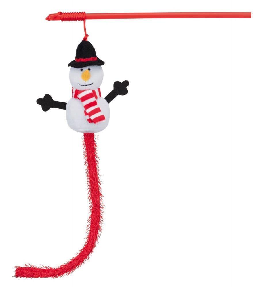 Новогодняя игрушка для кошек, удочка, Снеговик