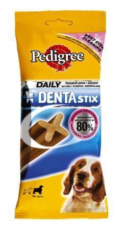 Лакомство палочки Denta Stix для собак, средних пород, уход за зубами, Pedigree - 7 шт.