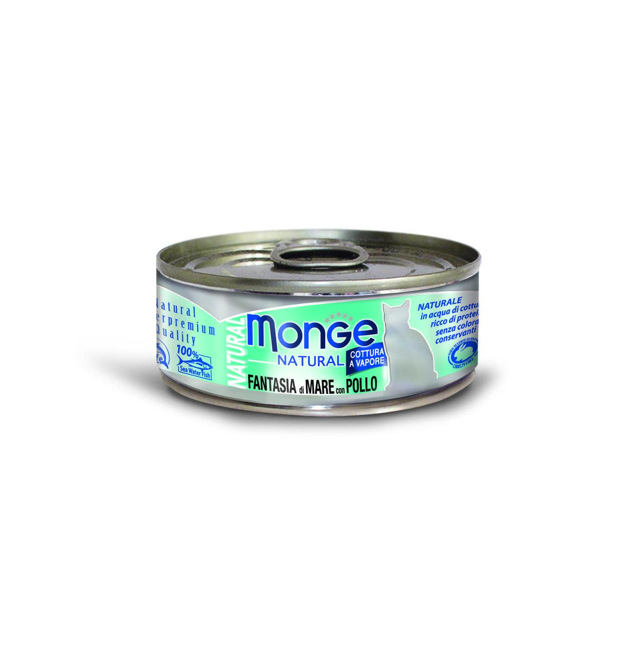 Консервы Monge Cat Natural для взрослых кошек (Тунец и курица с морепродуктами) - 80 г