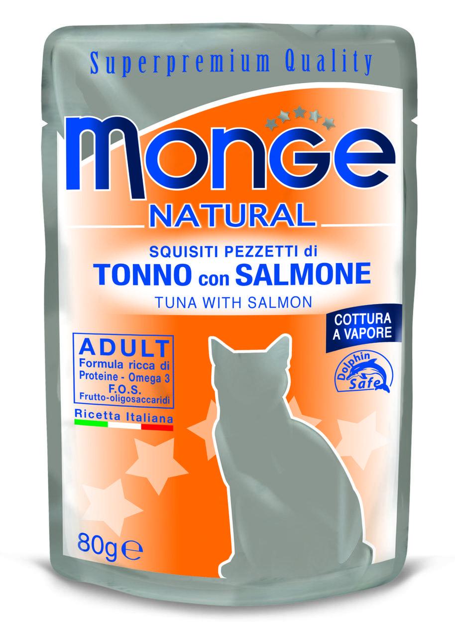 Корм Monge Adult для взролых кошек (Тунец и лосось в желе) - 80 г