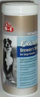 Пивные дрожжи Excel Brewer's Yeast для поддержания кожи и шерсти крупных собак , 8in1 - 80 табл.