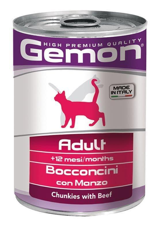 Консервы Monge Gemon Chunkies Adult Beef для взрослых кошек (Говядина) - 415 г