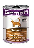 Консервы Monge Gemon Chunkies Senior для пожилых кошек (Курица и индейка) - 415 г